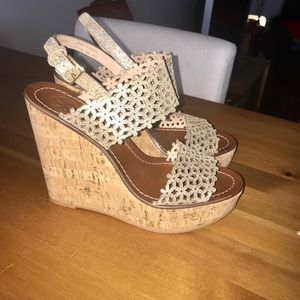Brand new Tory Burch gold wedges